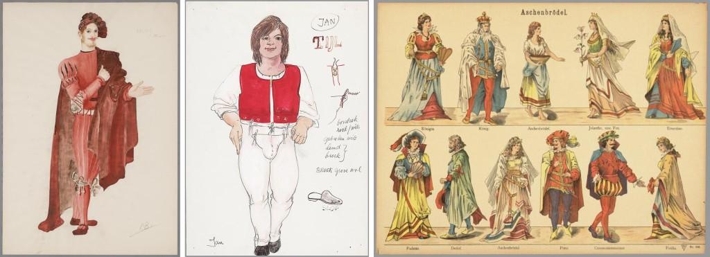 Kostuumontwerpen en papierentheaterprent, te zien in de tentoonstelling Sterke Verhalen.