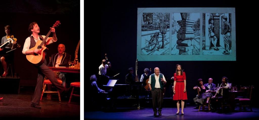Links: Bas Maree, rechts: Rob van de Meeberg en Jetta Starrenburg in Sterke Verhalen: de voorstelling. Foto's: Marc Kruse.