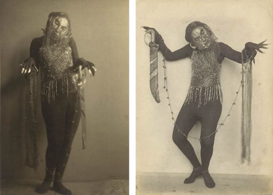 Gertrud Leistikow in Goldene Maske 1935, fotograaf onbekend (links) en foto Hanna Elkan. Collectie TIN.