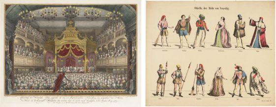 De Vorstelijke Loge in Amsterdamse Schouwburg, 1768; Papierentheaterprent voor Othello, 1775. Prenten uit de Collectie TIN.