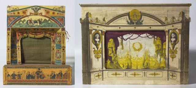 """Twee papieren theaters uit de tentoonstelling. Links: """"Neptune Theatre"""", uitgave Benjamin Pollock, ca. 1900. Rechts: """"Liefhebberij-toneel voor de Nederlandsche jeugd"""", uitgave A. Tjaden, 1968."""