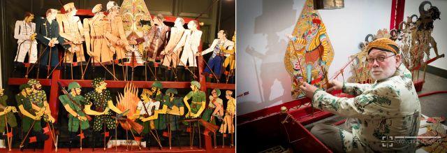 Links: Wayang-revolusi-kulitfiguren. Foto: Haye Bijlstra. Rechts: Otto van der Mieden als dalang. Foto: Henri van der Beek.