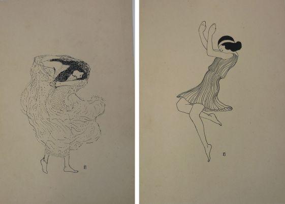 Schetsen van een dansende Gertrud Leistikow, pentekeningen door Max Ernst, 1913. Gesigneerd met monogram.