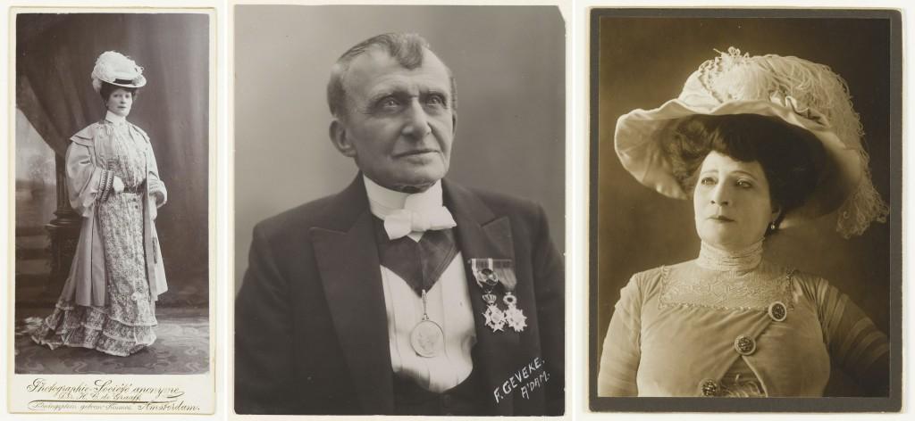 V.l.n.r.: Theo Mann-Bouwmeester, 1907. Foto: H.C. de Graaff; Louis Bouwmeester, 1922. Foto: Frits Geveke; Theo Mann-Bouwmeester in De officieele vrouw, ca. 1910. Fotograaf onbekend.