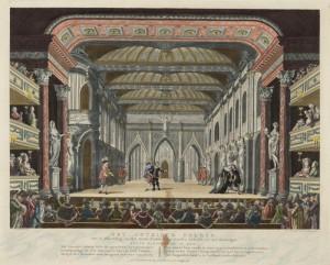 """Coulissendecor """"Het Gotisch Paleis"""" met scène uit Jacob Simonszoon de Rijk (L.W. van Winter-van Merken, 1774), ingekleurde gravure uit 1785."""