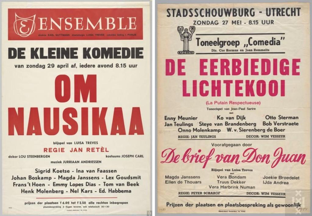 Affiche Om Nausikaa , Toneelgezelschap Ensemble 29 april 1962; Affiche De brief van Don Juan, Toneelgroep Comedia , 27 mei 1951.  Beide toneelstukken werden geschreven door Luisa Treves. Theatercollectie Bijzondere Collecties UvA (Stichting TiN).