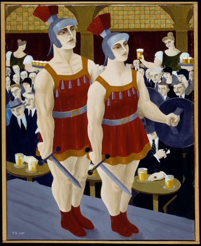 Café met twee gladiatoren (1957), schilderij door Ferdinand Erfmann. Herkomst: Theatercollectie Bijzondere Collecties UvA (Stichting TiN).