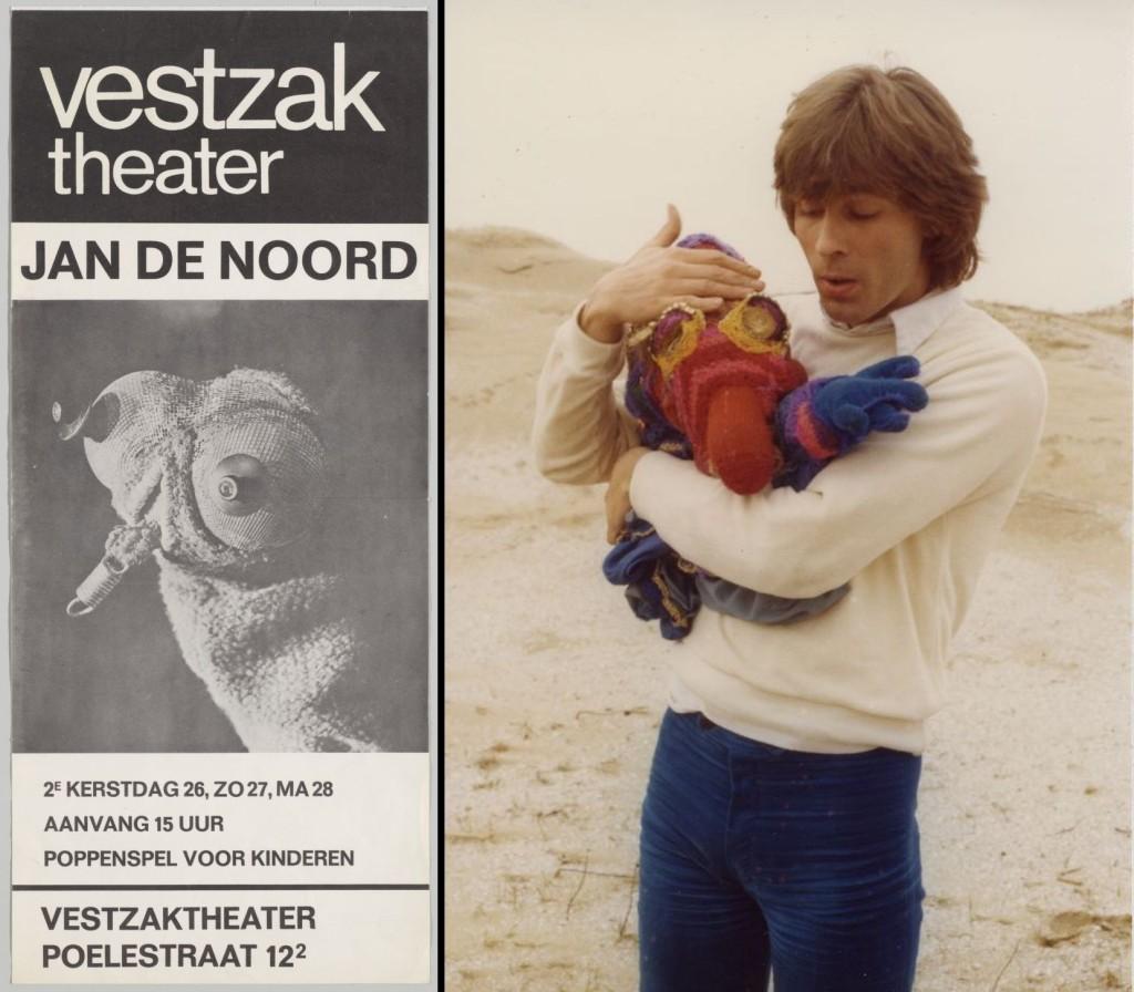 Affiche van een voorstelling van Jan de Noord uit 1967; Portret van Jan de Noord met zijn poppen. Fotograaf onbekend. Herkomst: Theatercollectie Bijzondere Collecties UvA (Stichting TiN).