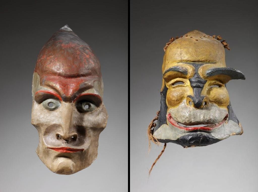 Twee maskers voor dansen van Gertrud Leistikow, gemaakt door Hildo Krop. Links voor Fanatieke Dans (1922) en rechts voor Groteske (1926). Herkomst: Theatercollectie Bijzondere Collecties UvA (Stichting TiN).