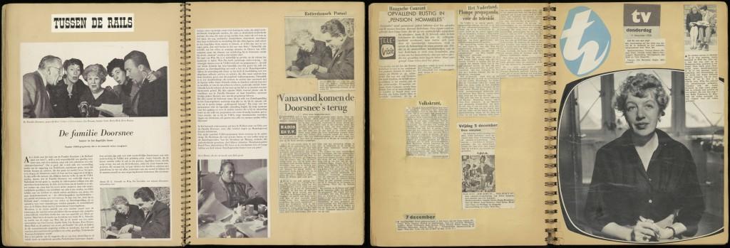 Pagina's uit de plakboeken van Wim Ibo: over Doorsnee (1955) en Hommeles (1958). Herkomst: Theatercollectie Bijzondere Collecties UvA (Stichting TiN).