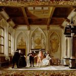 Nicolaas Muys, Scène uit Jacob Simonsz. de Rijck, in het decor De Kloosterkamer, 1777.