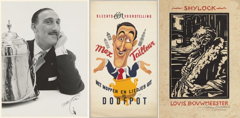 V.l.n.r. Max Tailleur met de Doofpot, foto Hans Dukkers, 1960; Affiche Max Tailleur, 1966; Portret van Louis Bouwmeester als Shylock in De Koopman van Venetië, houtsnede door Jacq. J. Ottens, z.j.