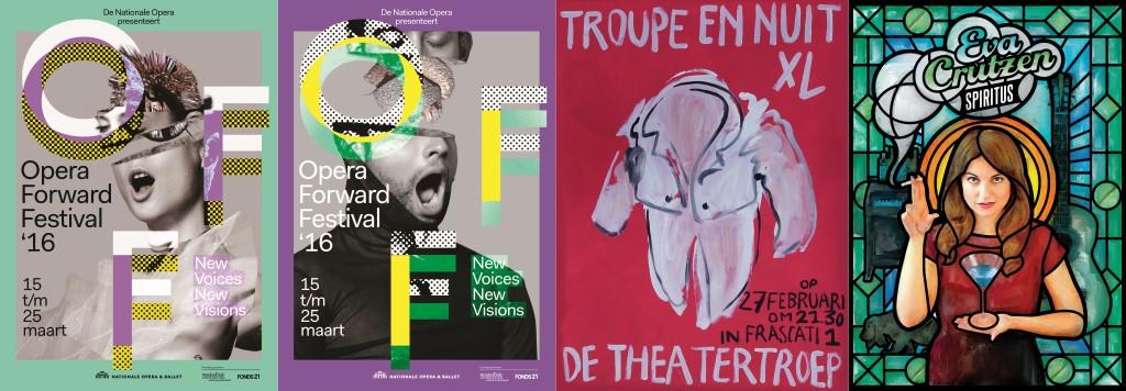 Genomineerde affiches: V.l.n.r. Twee affiches voor Opera Forward Festival (De Nationale Opera & Ballet), ontwerp Lesley Moore, fotografie Petrovsky & Ramone; Affiche voor  Troupe en Nuit XL (De Theatertroep), ontwerp Roos Visser; Affiche voor Spiritus (Eva Crutzen),idee Eva Crutzen, ontwerp HUFF&REUTER (Robbert Huffenreuter).