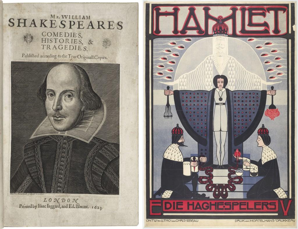 Links: Uitgave van alle werken van Shakespeare, London 1623 (in de tentoonstelling digitaal door te bladeren). Rechts: Affiche voor Hamlet, Die Haghespelerls 1917. Steendruk naar ontwerp van Chris Lebeau. Herkomst: Theatercollectie Bijzondere Collecties UvA (Stichting TiN).